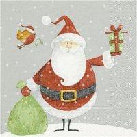 Servilletas, Santa con saco de regalos, medidas 33x33 cm, 20 ud/ 1 paquete