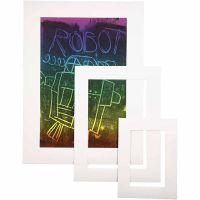 Marcos de fotos, A3,A4,A5, grosor 0,4 mm, 270 gr, blanco, 75 ud/ 1 paquete