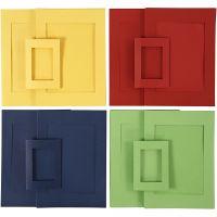 Marcos passepartout, medidas A4+A6 , azul, verde, rojo, amarillo, 2x60 ud/ 1 paquete