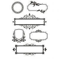 Sellos de silicona, marcos con adornos, 11x15,5 cm, 1 hoja