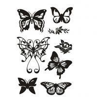 Sellos de silicona, Mariposas, 11x15,5 cm, 1 hoja