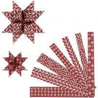 Tiras de papel para estrellas, L. 44+78 cm, dia: 6,5+11,5 cm, A: 15+25 mm, rojo, blanco, 60 tiras/ 1 paquete