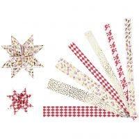 Tiras de estrellas de papel, L. 44+78 cm, dia: 6,5+11,5 cm, A: 15x25 mm, dorado, rojo, blanco, 48 tiras/ 1 paquete