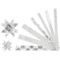 Tiras de estrellas de papel, L. 44+78 cm, dia: 6,5+11,5 cm, A: 15+25 mm, plata, blanco, 48 tiras/ 1 paquete