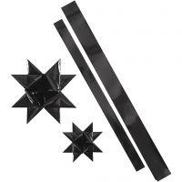 Tiras de estrellas, L. 86+100 cm, dia: 11,5+18,5 cm, A: 25+40 mm, negro, 16 tiras/ 1 paquete