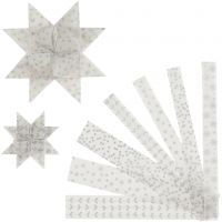 Tiras de papel para estrellas, L. 44+78 cm, dia: 6,5+11,5 cm, A: 15+25 mm, plata, blanco, 48 tiras/ 1 paquete