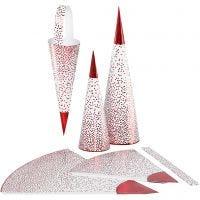 Conos, A: 18+28 cm, 120 gr, rojo, blanco, 3 ud/ 1 paquete