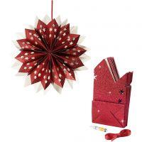 Estrella con bolsas de papel, 200 gr, rojo, 1 set