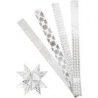 Tiras de estrellas de papel, L. 100 cm, dia: 18 cm, A: 40 mm, plata, blanco, 40 tiras/ 1 paquete