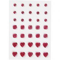 Rocalla, Redonda, cuadrado, corazón., medidas 6+8+10 mm, rosa, 35 ud/ 1 paquete