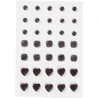 Rocalla, Redonda, cuadrado, corazón, medidas 6+8+10 mm, negro, 35 ud/ 1 paquete
