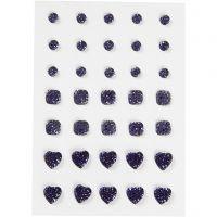 Rocalla, Redonda, cuadrado, corazón, medidas 6+8+10 mm, azul, 35 ud/ 1 paquete