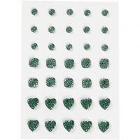 Rocalla, Redonda, cuadrado, corazón, medidas 6+8+10 mm, verde, 35 ud/ 1 paquete