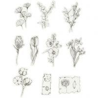 Cinta adhesiva, flores negras/blancas, medidas 30-50 mm, 30 ud/ 1 paquete
