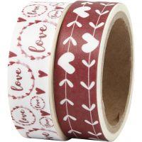 Cinta adhesiva, 'love' y corazones, A: 15 mm, 2x5 m/ 1 paquete