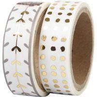 Cinta adhesiva, corazones y puntitos - foil, A: 15 mm, dorado, blanco, 2x4 m/ 1 paquete