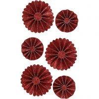 Rosetas de papel, dia: 35+50 mm, rojo purpurina, 6 ud/ 1 paquete