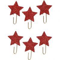 Clips metálicos, Estrella, dia: 30 mm, rojo purpurina, 6 ud/ 1 paquete