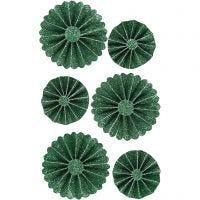 Rosetas de papel, dia: 35+50 mm, verde purpurina, 6 ud/ 1 paquete