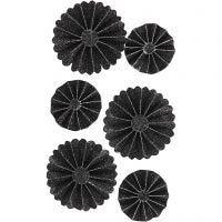 Rosetas de papel, dia: 35+50 mm, negro purpurina, 6 ud/ 1 paquete
