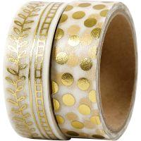 Cinta adhesiva, cenefa y topos - metalizado, A: 15 mm, dorado, 2x4 m/ 1 paquete