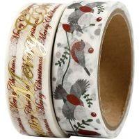 Cinta adhesiva, Feliz Navidad y pájaros metalizado, A: 15 mm, 2x4 m/ 1 paquete