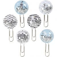 Clips Shaker, L. 49 mm, dia: 25 mm, negro, azul, gris, blanco, 6 ud/ 1 paquete