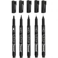 Marcadores permanentes, trazo ancho 2x0,6+2x0,8+1,3 mm, negro, 5 ud/ 1 paquete