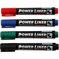 Power liner, trazo ancho 1,5-3 mm, negro, azul, verde, rojo, 4 ud/ 1 paquete