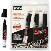 Rotulador Skrib, trazo ancho 4 mm, negro, azul, rojo, amarillo, 4 ud/ 1 paquete