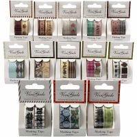 Washi tape, A: 15 mm, surtido de colores, 12 paquete/ 1 paquete