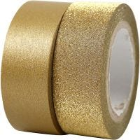 Washi tape diseño, A: 15 mm, dorado, 2 rollo/ 1 paquete