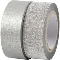 Washi tape diseño, A: 15 mm, plata, 2 rollo/ 1 paquete