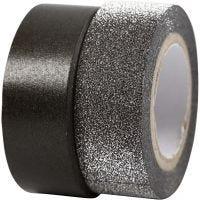 Washi tape diseño, A: 15 mm, negro, 2 rollo/ 1 paquete