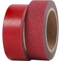 Washi tape diseño, A: 15 mm, rojo, 2 rollo/ 1 paquete