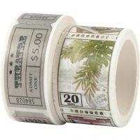 Washi tape, Billete y motivo de la naturaleza, L. 3+5 m, A: 20+25 mm, 2 rollo/ 1 paquete