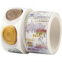 Washi tape, Motivo del caracol y del paisaje, L. 3+5 m, A: 20+25 mm, 2 rollo/ 1 paquete