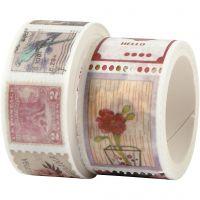 Washi tape, Motivo de la estampilla y de la flor, L. 3+5 m, A: 20+25 mm, 2 rollo/ 1 paquete