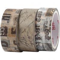 Washi tape, Correspondencia de cartas, L. 5 m, A: 15 mm, 3 rollo/ 1 paquete