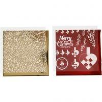 Papel para decorar y papel para transfer, Corazones trenzados, 15x15 cm, dorado, rojo, blanco, 4 hoja/ 1 paquete