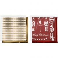 Papel para decorar y papel para transfer, Cascanueces, santa y bailarina, 15x15 cm, dorado, rojo, blanco, 4 hoja/ 1 paquete