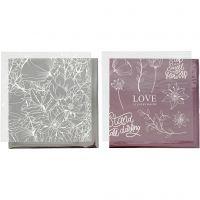 Papel para decorar y papel para transfer, Flores, 15x15 cm, rosado, plata, 4 hoja/ 1 paquete
