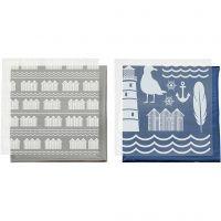 Foil con hoja de transferencia, Faro, 15x15 cm, azul, plata, 2x2 hoja/ 1 paquete
