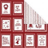 Papel estampado, Marcos con texto y garabatos, 30,5x30,5 cm, 180 gr, 5 hoja/ 1 paquete