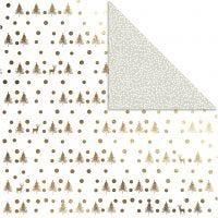 Papel estampado, Ciervos & topos, 30,5x30,5 cm, 180 gr, dorado, 3 hoja/ 1 paquete