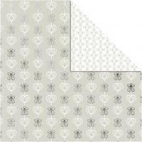 Papel estampado, Ángeles & Corazones, 30,5x30,5 cm, 180 gr, plata, 3 hoja/ 1 paquete
