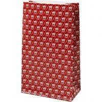 Bolsas de papel, Tambor, A: 21 cm, medidas 6x12 cm, 80 gr, rojo, blanco, 8 ud/ 1 paquete