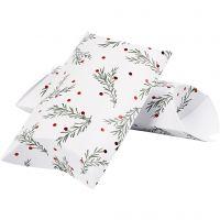 Caja en forma de almohada, Rama de abeto con bolas de Navidad, medidas 23,9x15x6 cm, 300 gr, verde, rojo metalizado, blanco, 3 ud/ 1 paquete