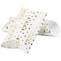 Caja en forma de almohada, Árbol de Navidad con ciervos, medidas 23,9x15x6 cm, 300 gr, dorado, blanco, 3 ud/ 1 paquete
