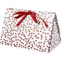 Caja de regalo plegable, Topos, medidas 15x7x8 cm, 250 gr, rojo, 3 ud/ 1 paquete